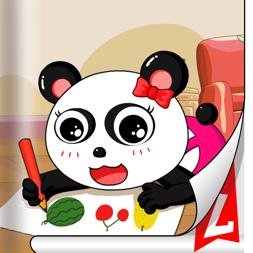 小熊猫妮妮在纸上画画